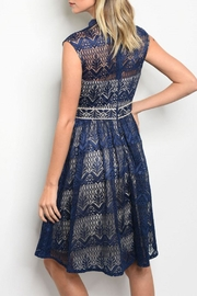 maniju Navy/nude Crochet Dress - Front full body