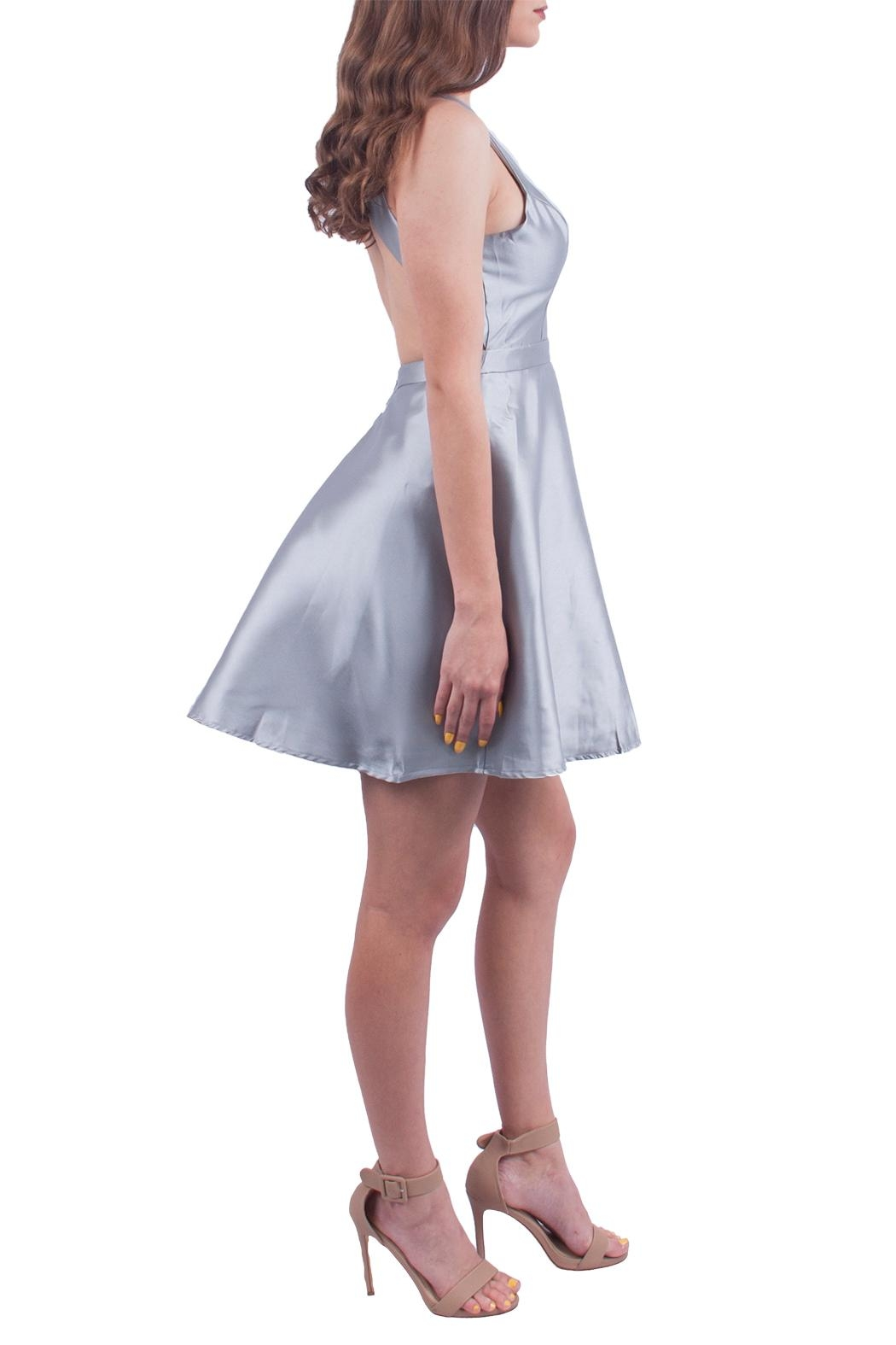 maniju Silver Fit Flare Dress - Front Full Image