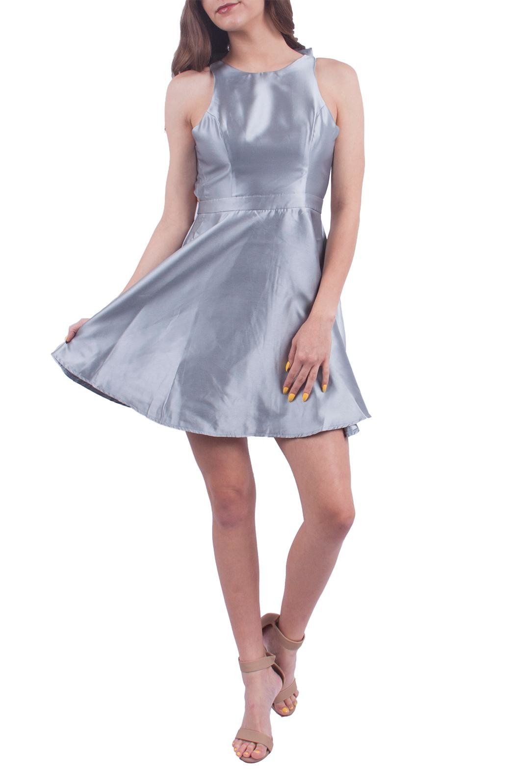 maniju Silver Fit Flare Dress - Front Cropped Image