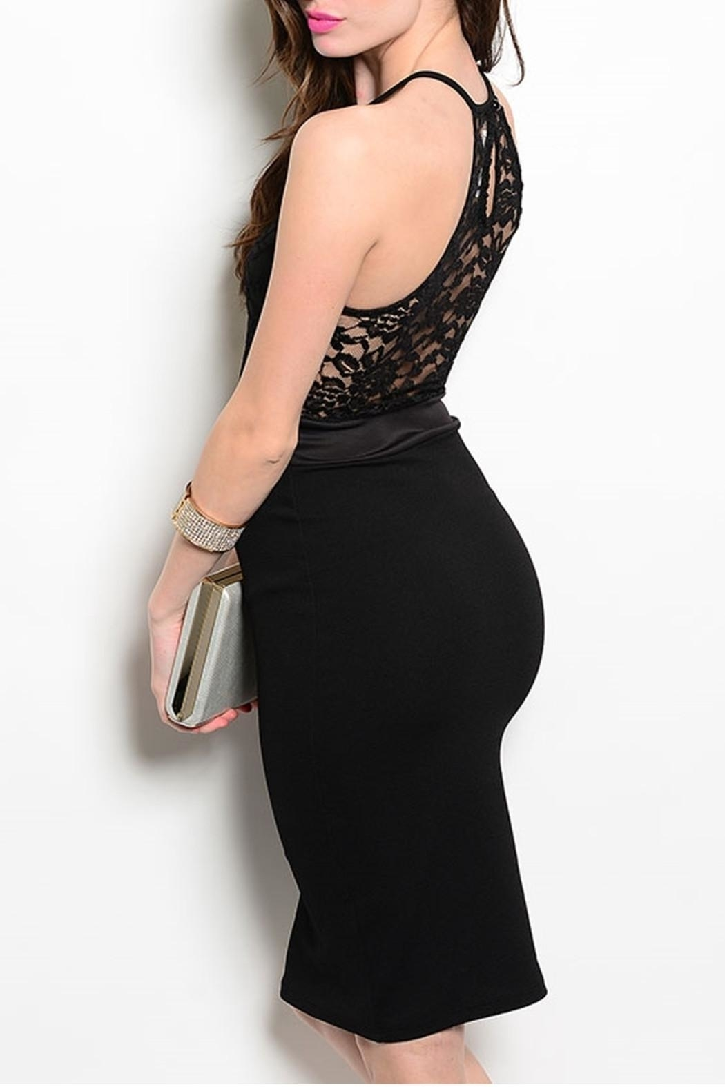 Manito Black Cocktail Dress - Front Full Image