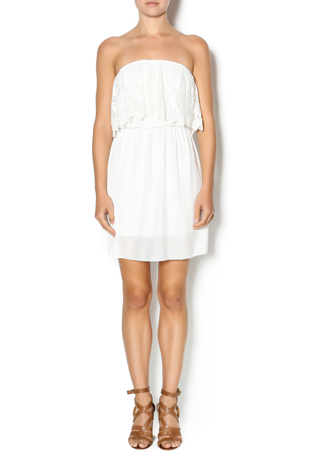 Manito Ivory Lace Strapless Dress - Front Full Image