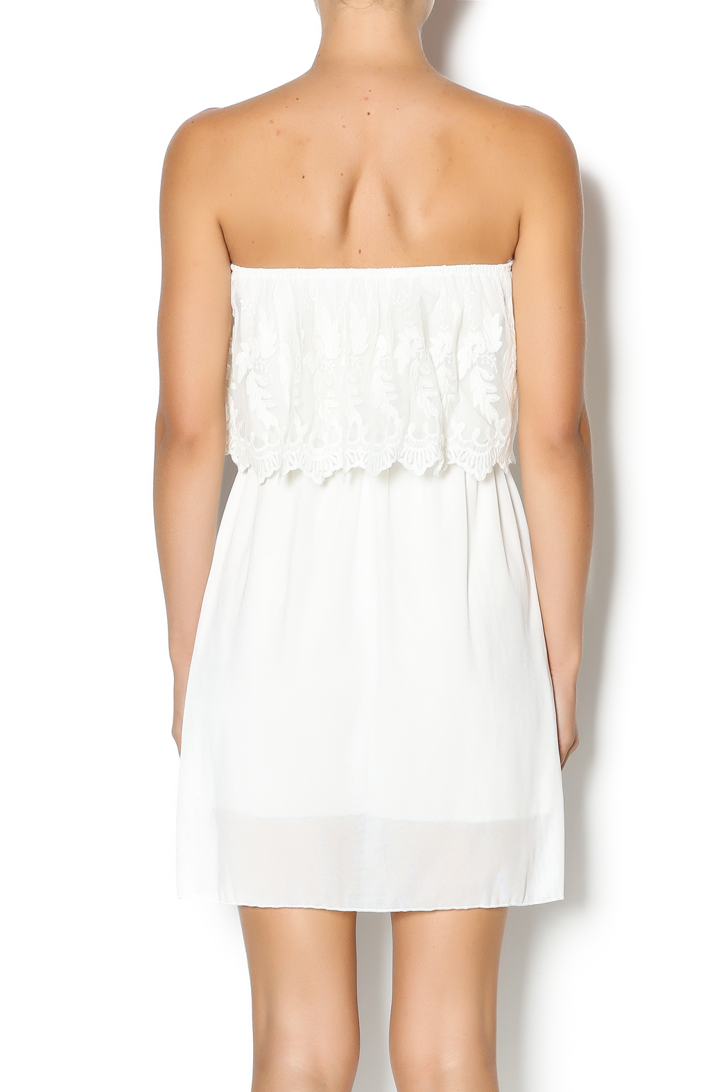Manito Ivory Lace Strapless Dress - Back Cropped Image