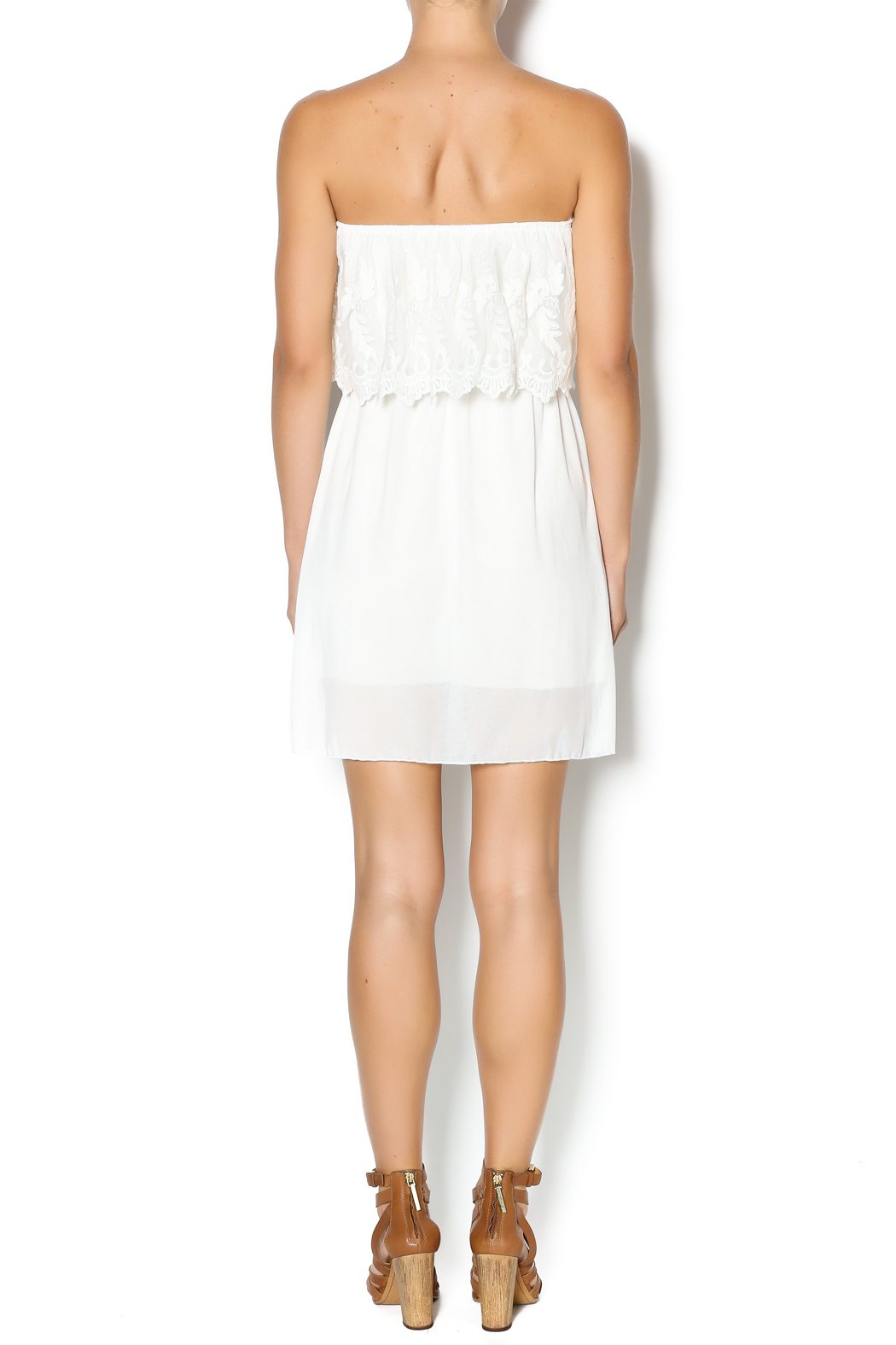 Manito Ivory Lace Strapless Dress - Side Cropped Image