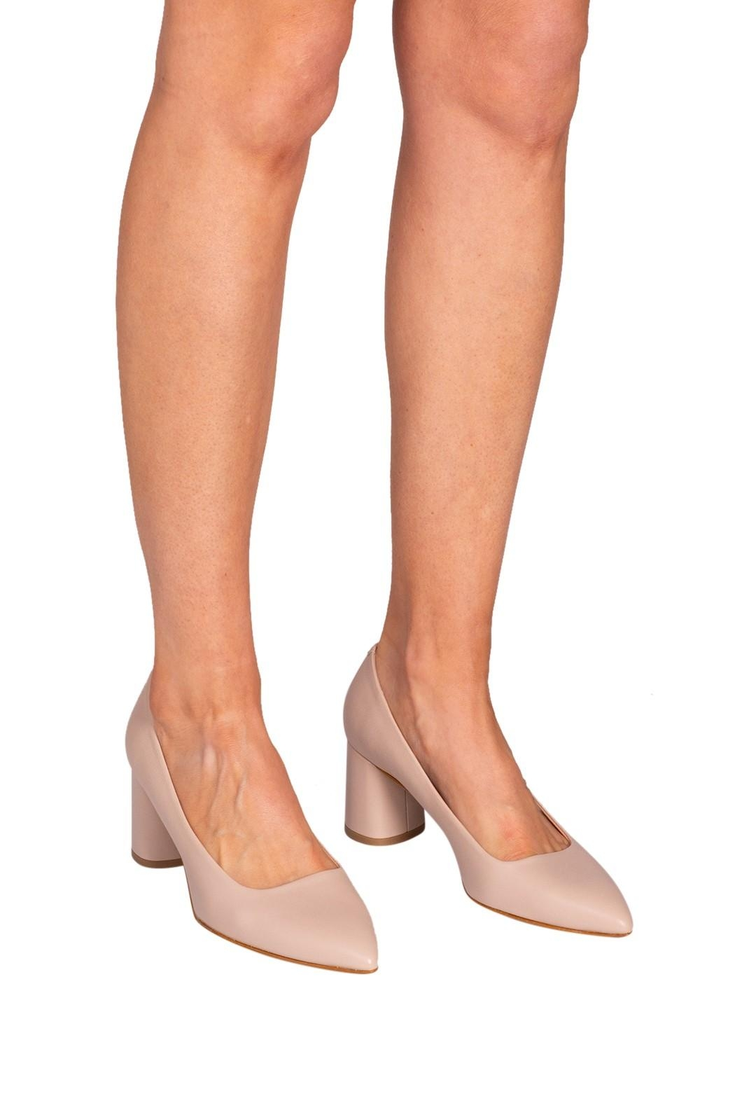 Manu Mari Nude Leather Heels - Back Cropped Image