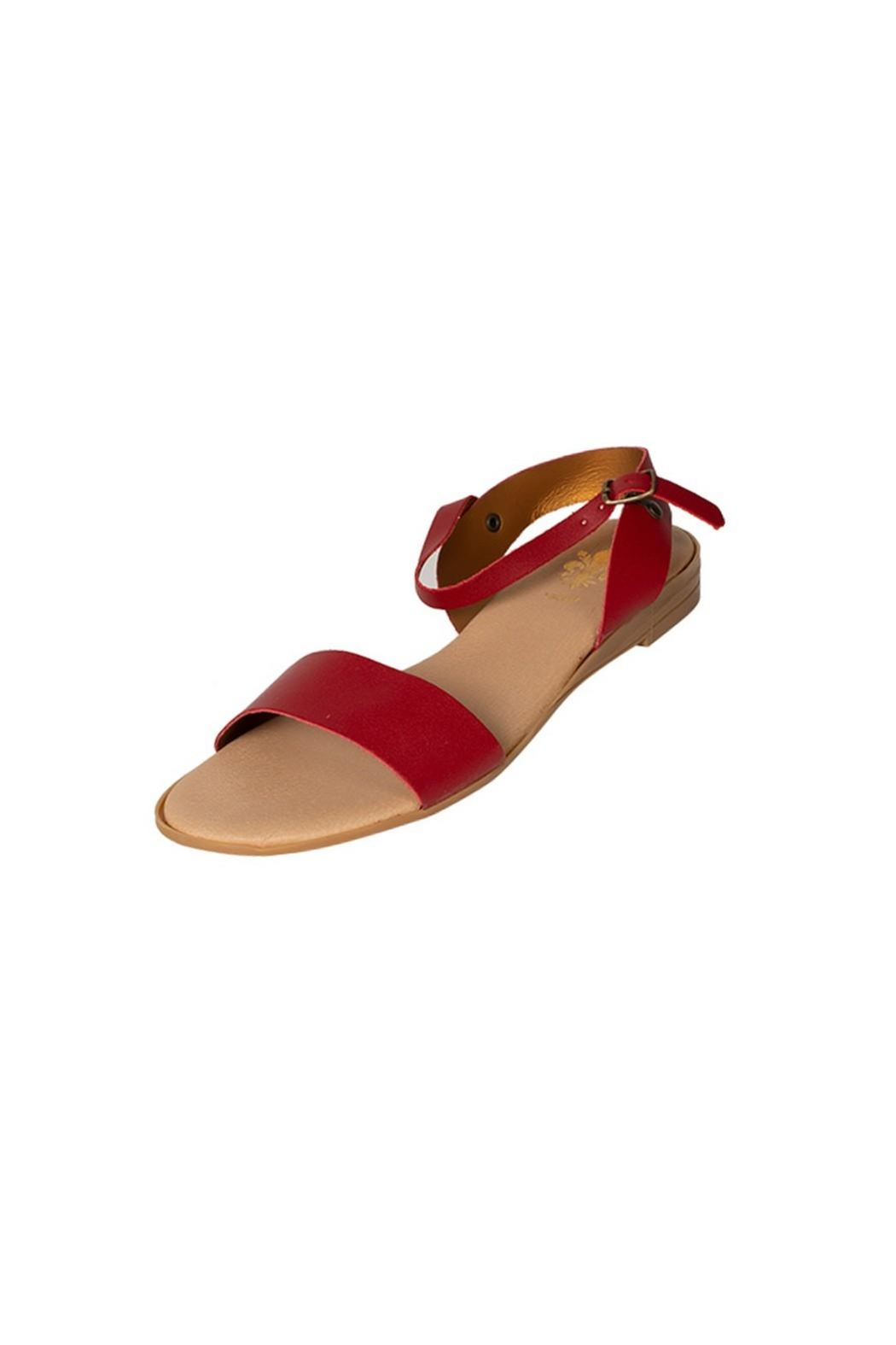 Firenze Red Leather Sandal - Side Cropped Image