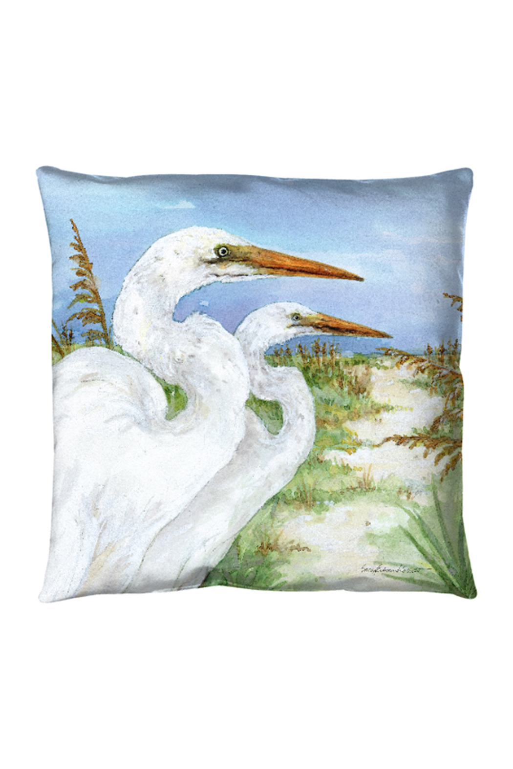 Manual Woodworkers and Weavers Two Egrets Pillow - Main Image