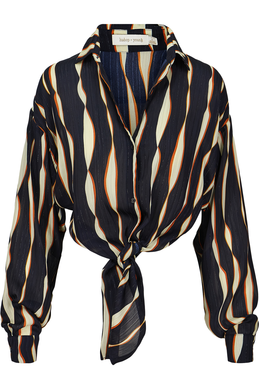 Bishop + Young Mara Print Tie Waist Blouse - Front Cropped Image