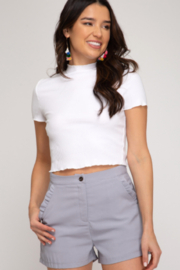 She and Sky Mara Ruffle Pocket Shorts - Product Mini Image