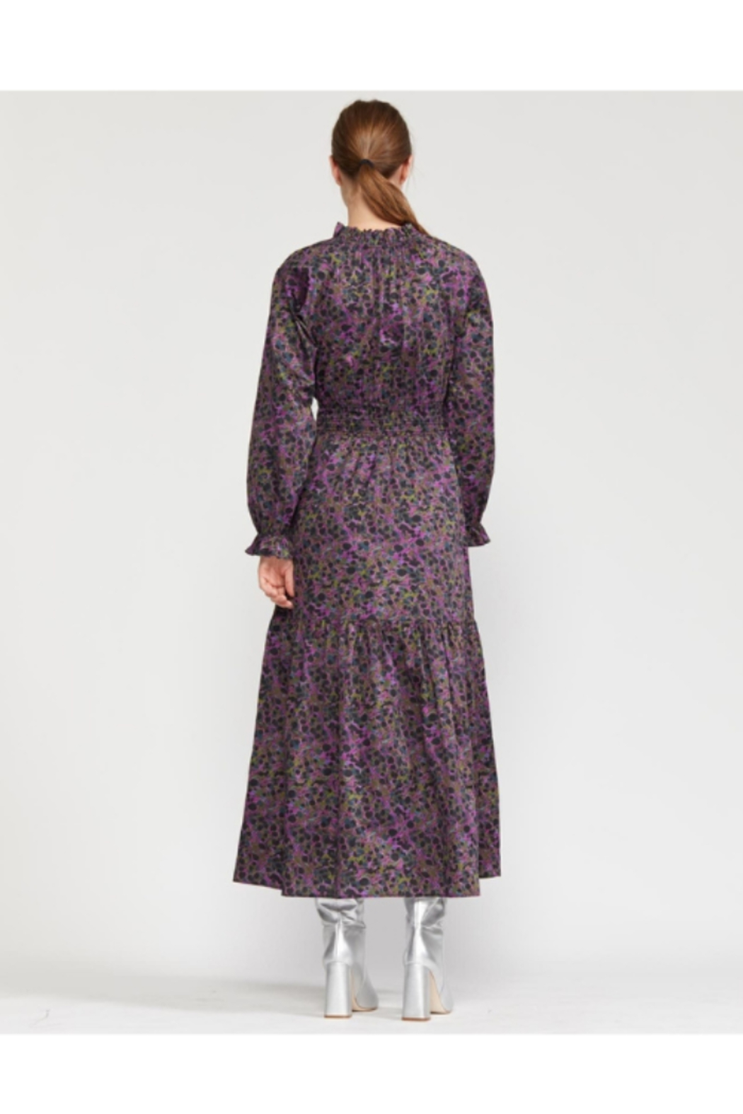 Cynthia Rowley Marbelle Smocked Waist Printed Cotton Dress - Side Cropped Image