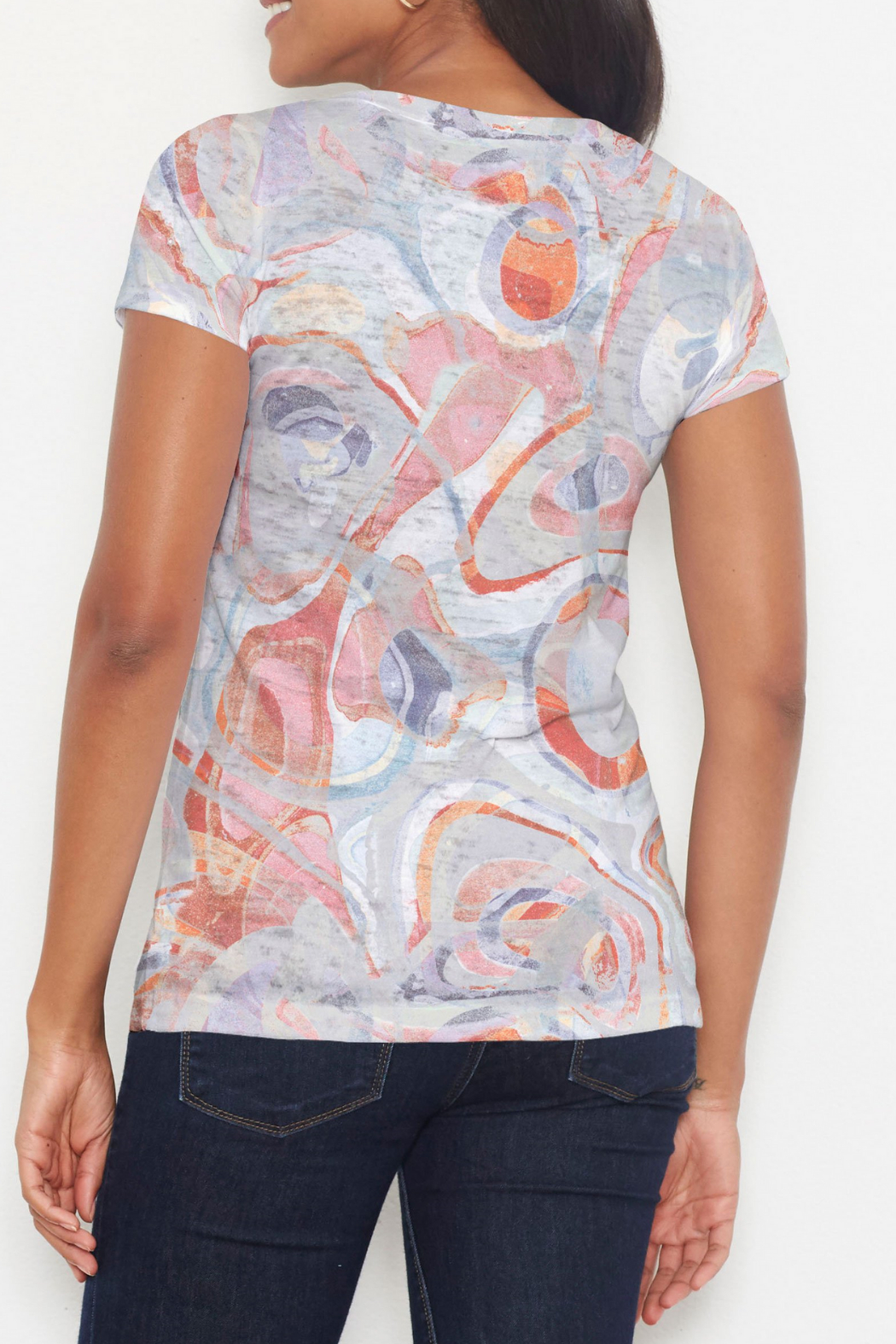 Whimsy Rose Marble Grey Short Sleeve Scoop Shirt - Front Full Image