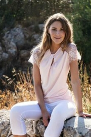 Marble Lace Sleeve Top - Product Mini Image
