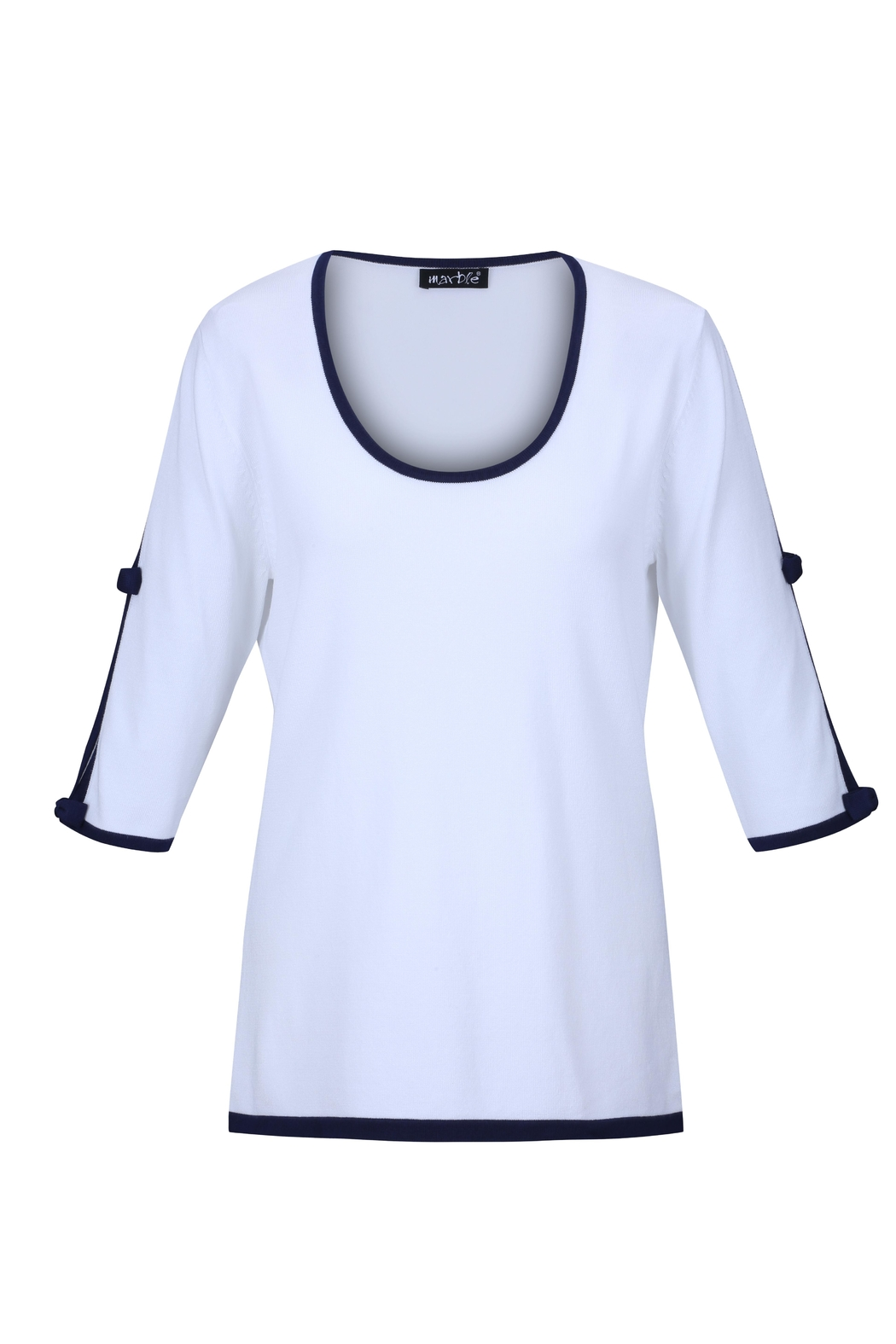 Marble White/navy Open-Sleeve Sweater - Main Image