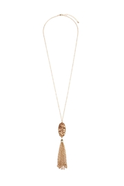Riah Fashion Marble-Stone Tassel Pendent-Necklace - Product Mini Image