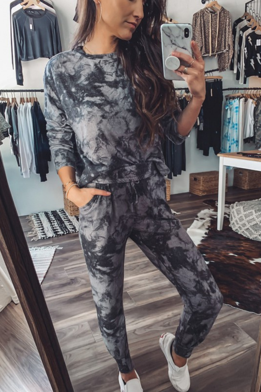 Fornia Marble Tie Dye LS & Jogger Lounge Set - Main Image
