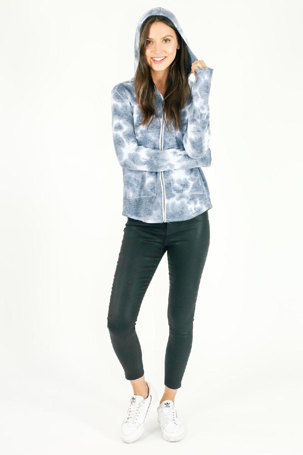 Six Fifty Marble Wash Zip Up Hoodie - Front Full Image