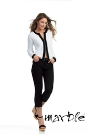 Marble White/black Cardigan - Front cropped
