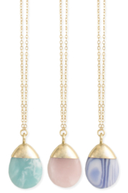 ZAD Marbled Teardrop Pendant Necklace - Front cropped