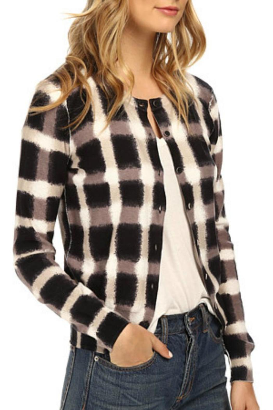 Marc By Marc Jacobs Blurred Plaid Cardigan - Side Cropped Image