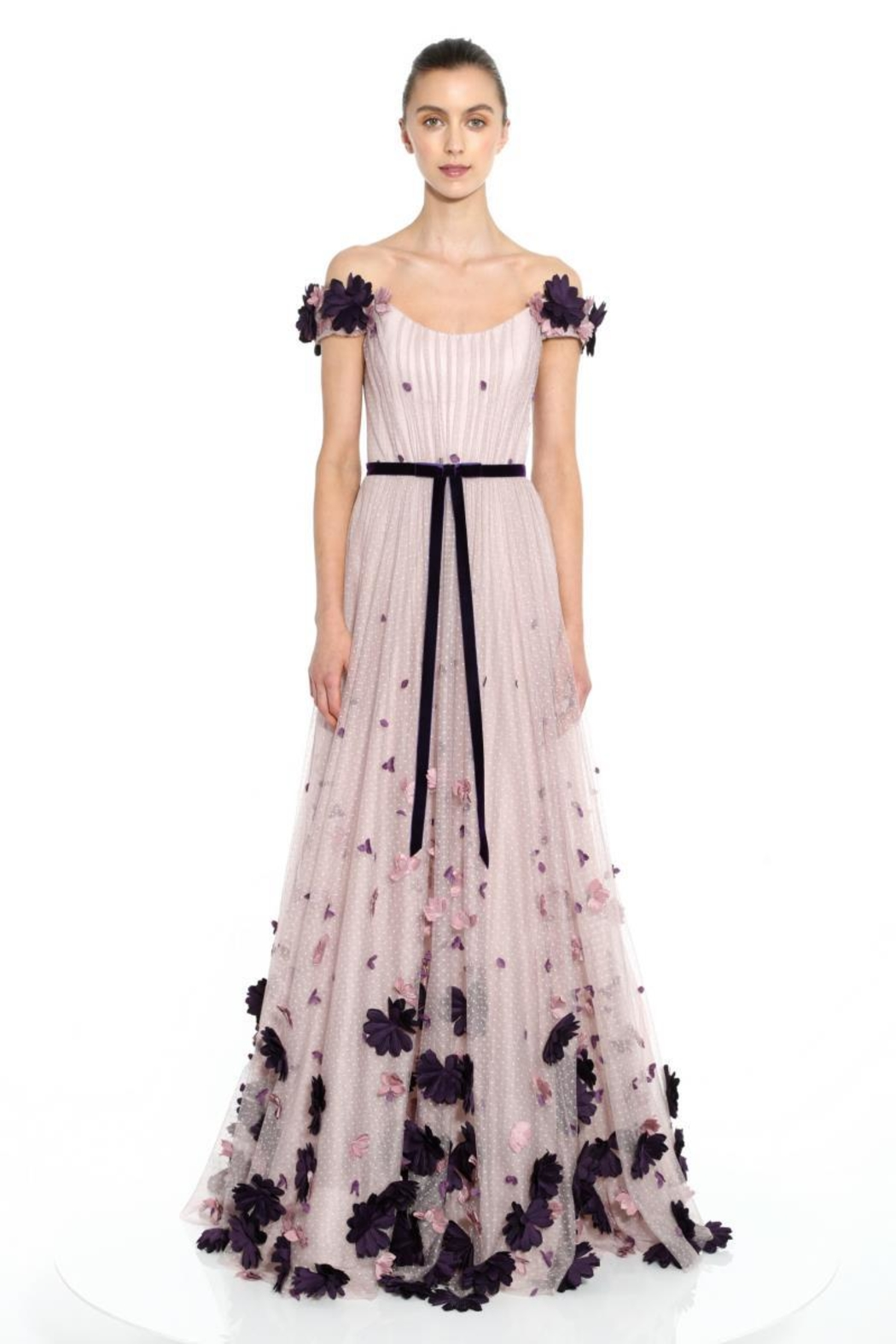 Marchesa 3d-Flower Off-Shoulder Gown - Main Image