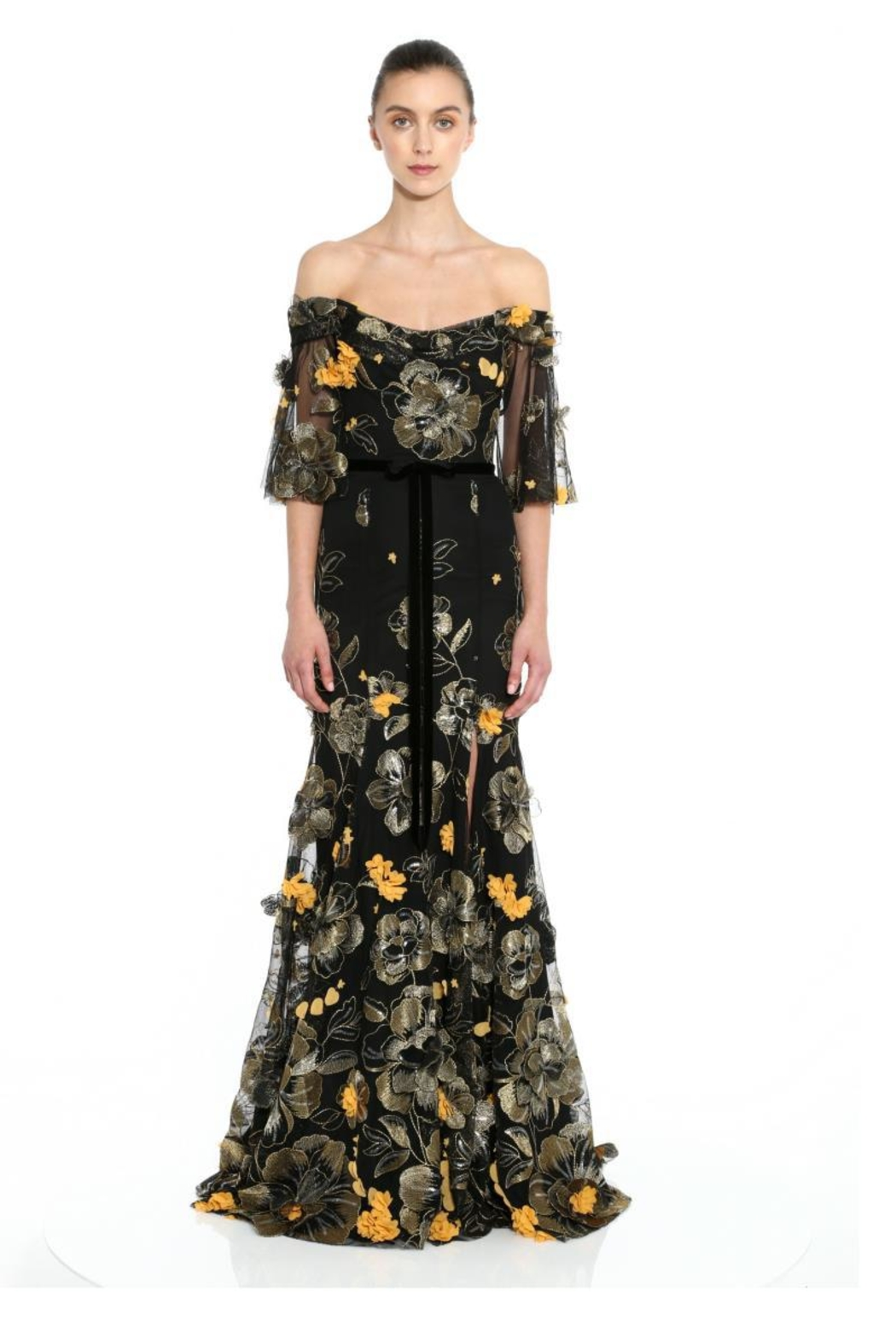 Marchesa Embroidered Off-Shoulder Gown - Main Image