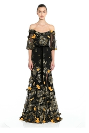 Marchesa Embroidered Off-Shoulder Gown - Front cropped