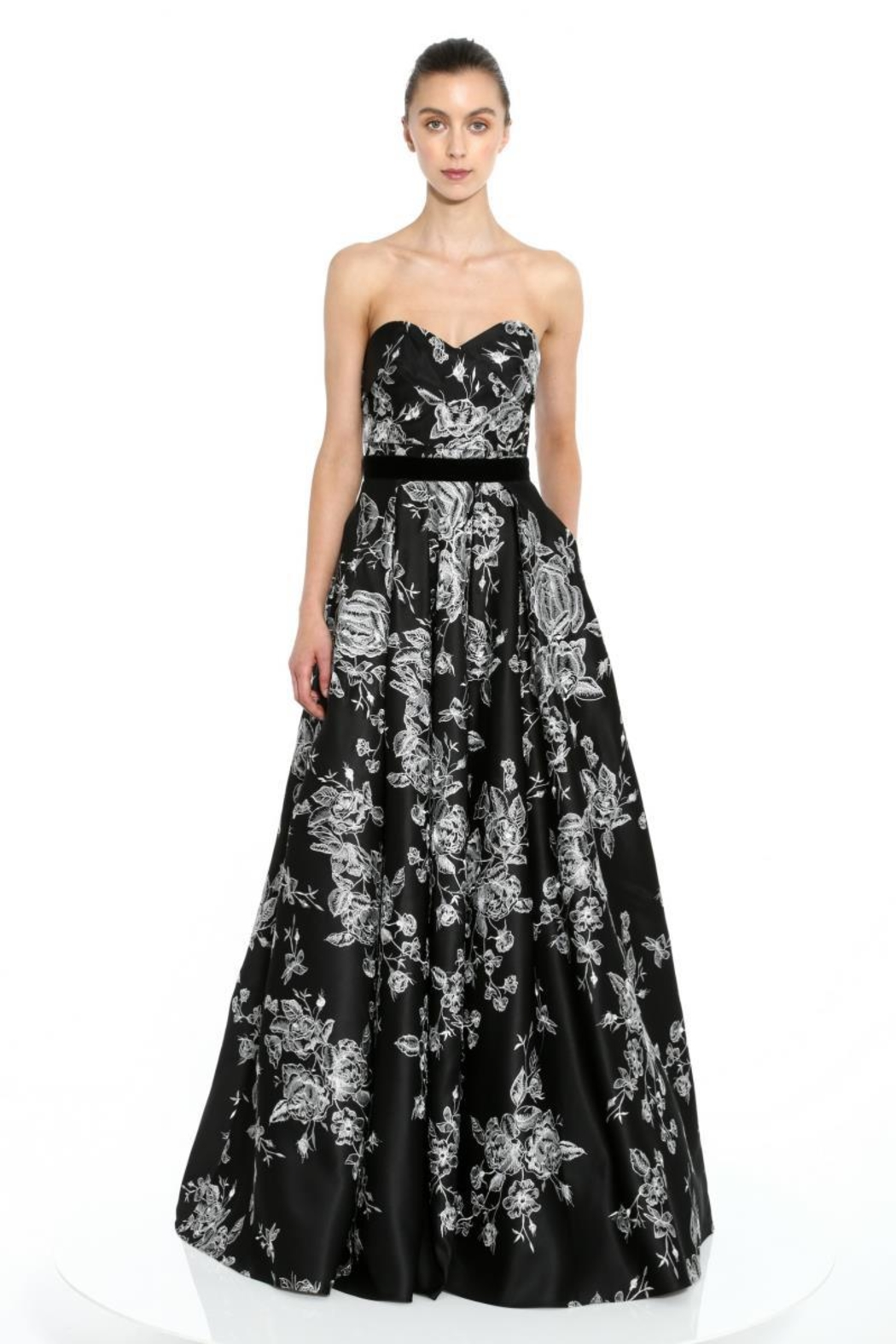 Marchesa Embroidered Satin Gown - Main Image