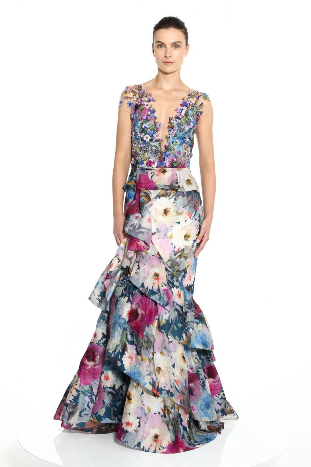 Marchesa Floral Cap-Sleeve Gown - Main Image