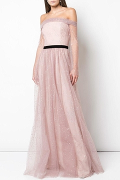 Marchesa Off-Shoulder Glitter Gown - Product List Image