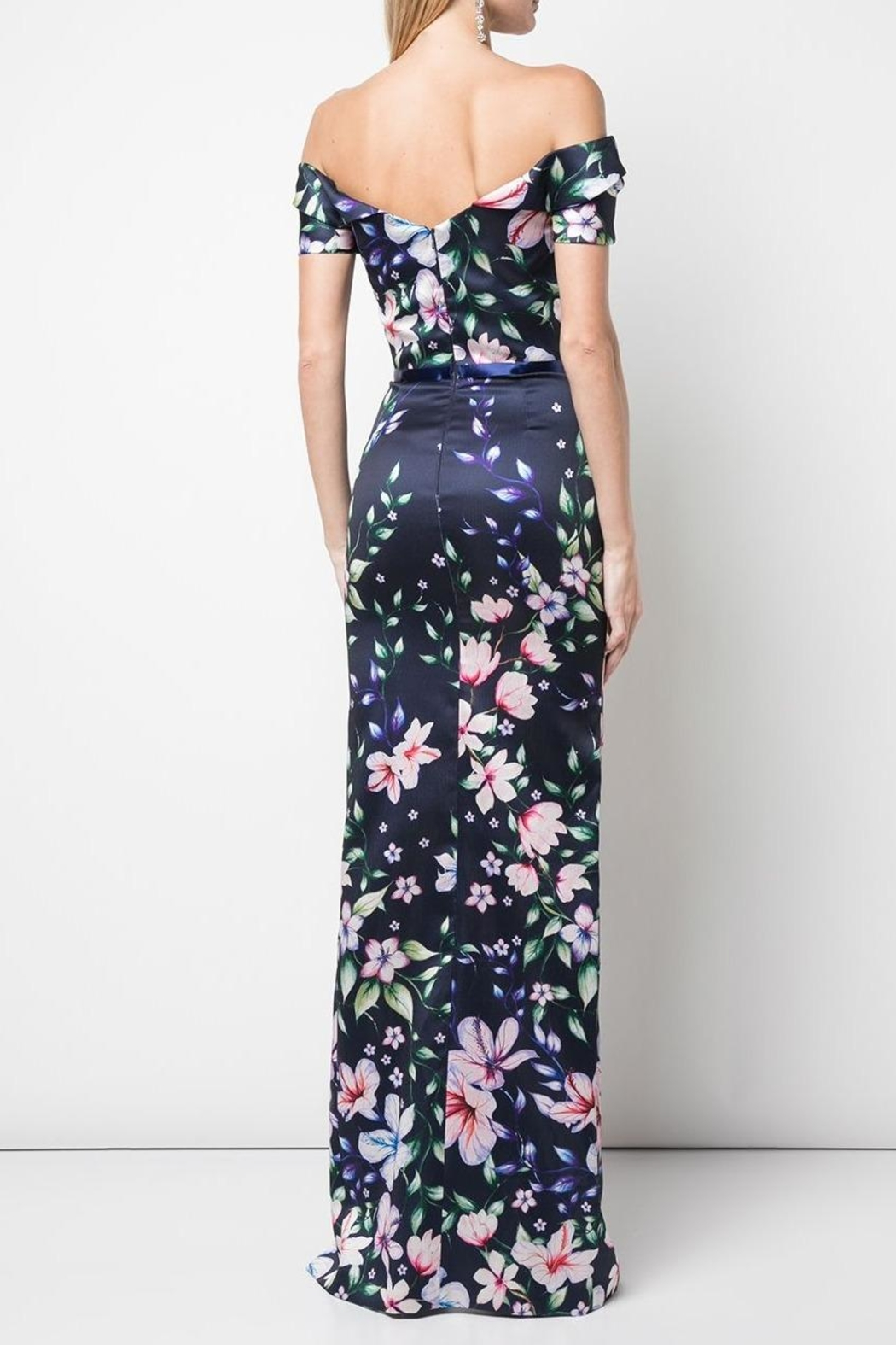 Marchesa Off-Shoulder Mikado Gown - Front Full Image