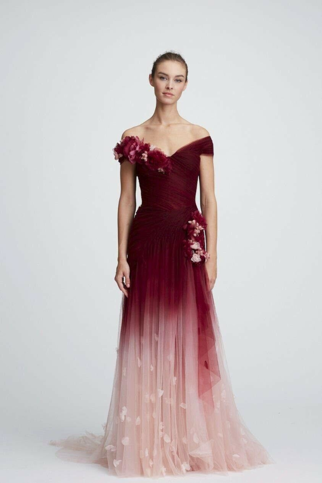 Marchesa Off-Shoulder Ombre Gown - Main Image