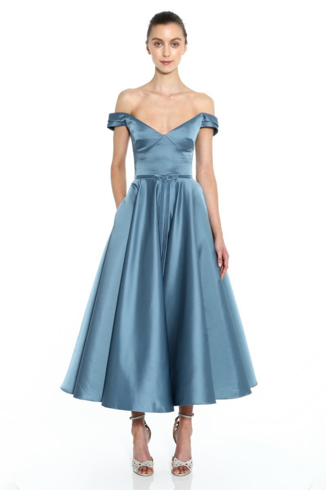 Marchesa Off-Shoulder Satin Gown - Front Cropped Image