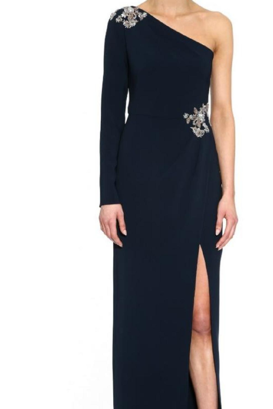 Marchesa One-Shoulder Crepe Gown - Main Image
