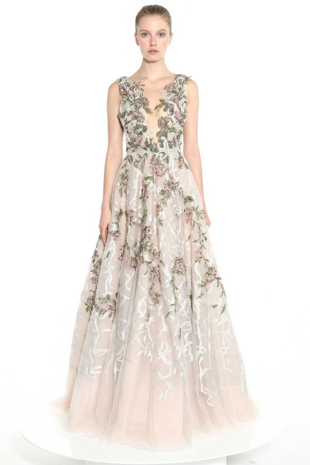 Marchesa Plunging V-Neck Gown - Main Image
