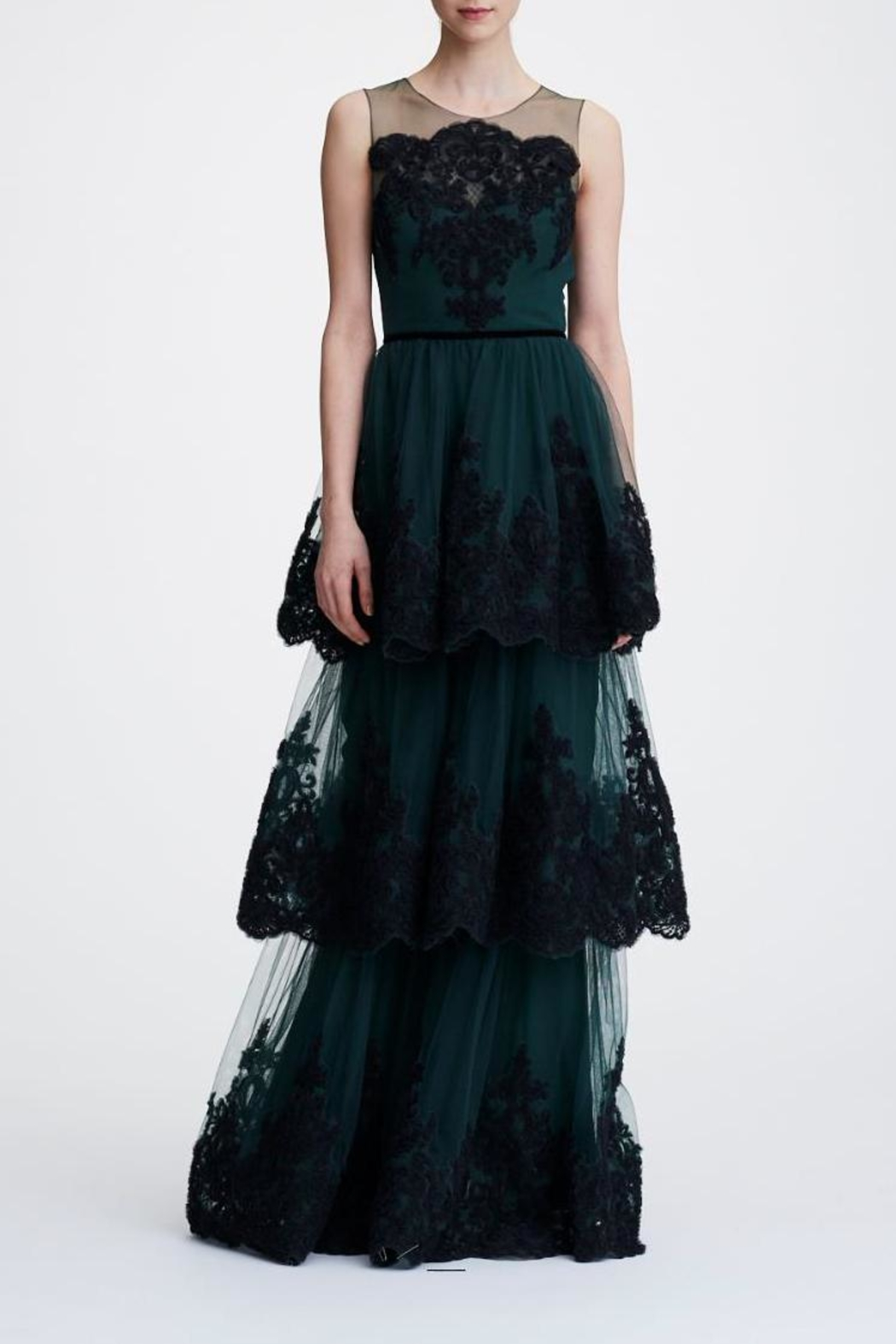 Marchesa Sleeveless Tiered Gown - Main Image