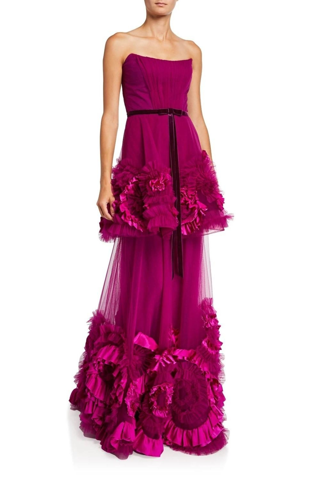Marchesa Strapless Tiered Gown - Main Image