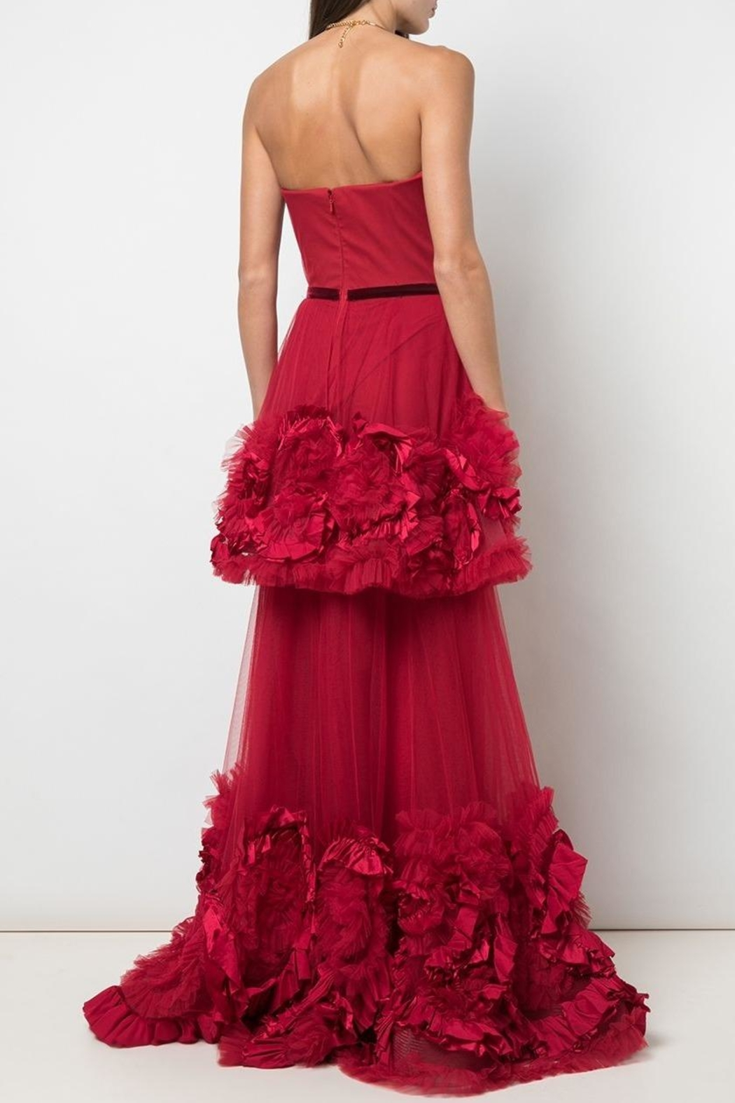 Marchesa Strapless Tiered Gown - Front Full Image