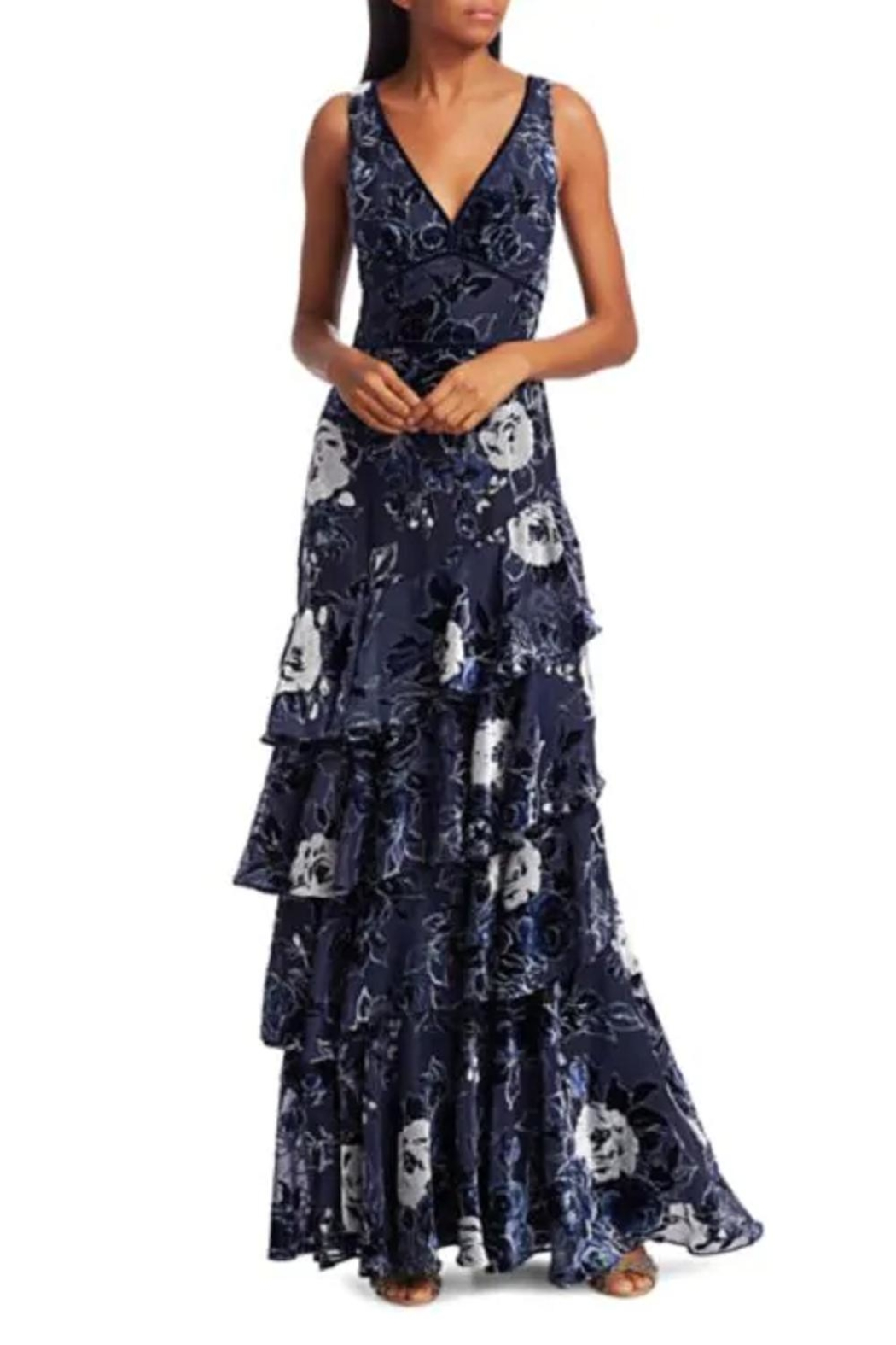 Marchesa Tiered Chiffon Gown - Main Image