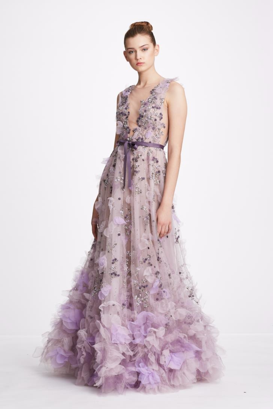 Marchesa V-Neck Tulle Gown - Main Image