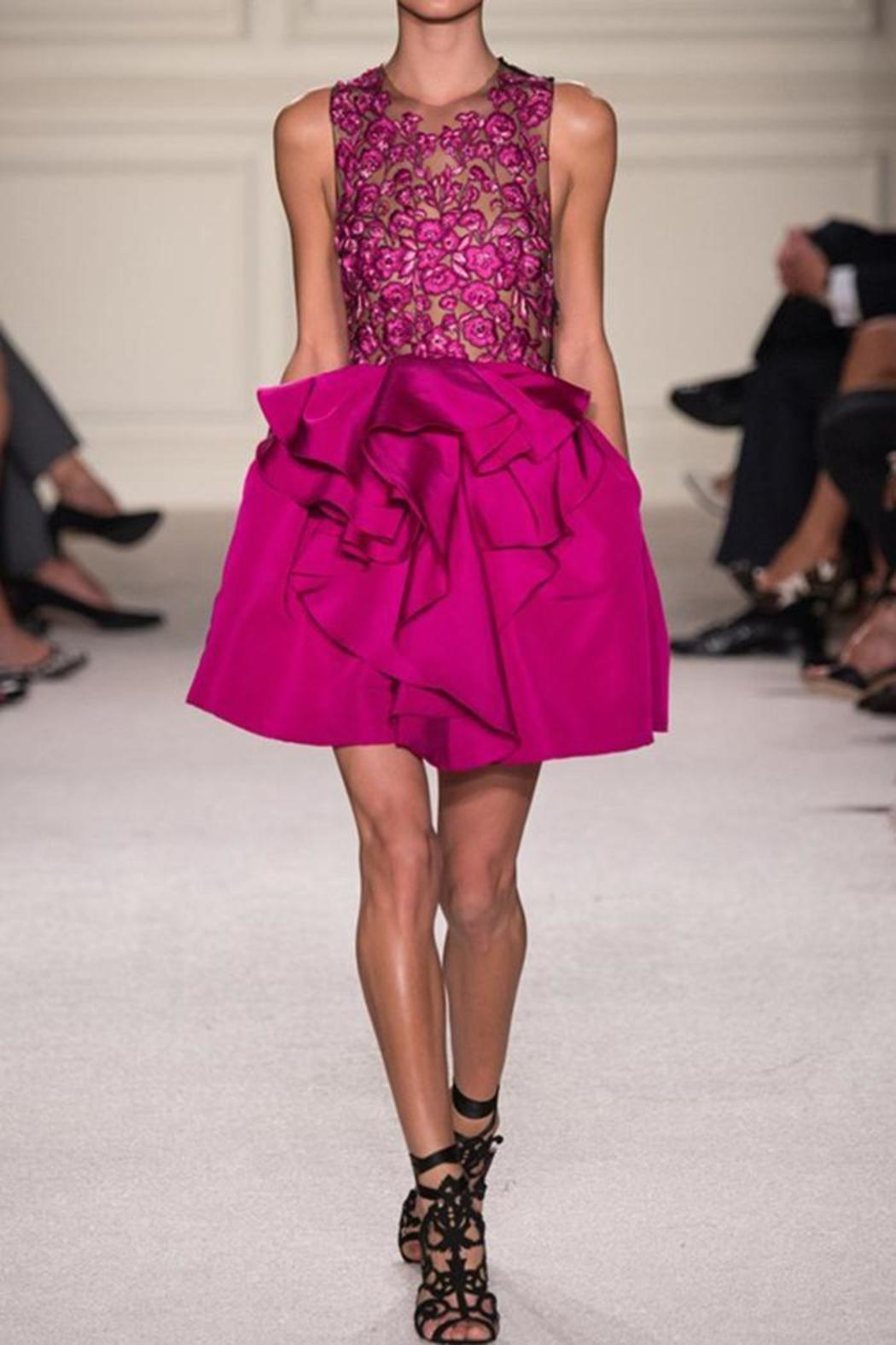 Marchesa Pink Embroidered Dress - Main Image