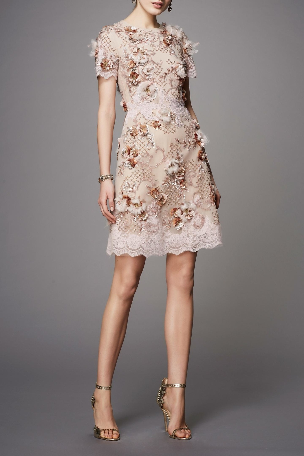 Marchesa Couture Floral Tulle Dress - Main Image