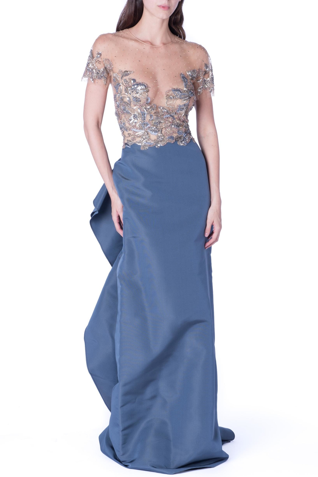 Marchesa Couture Grey Sequin Ruffle - Main Image