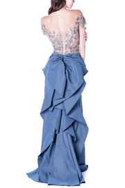 Marchesa Couture Grey Sequin Ruffle - Front full body