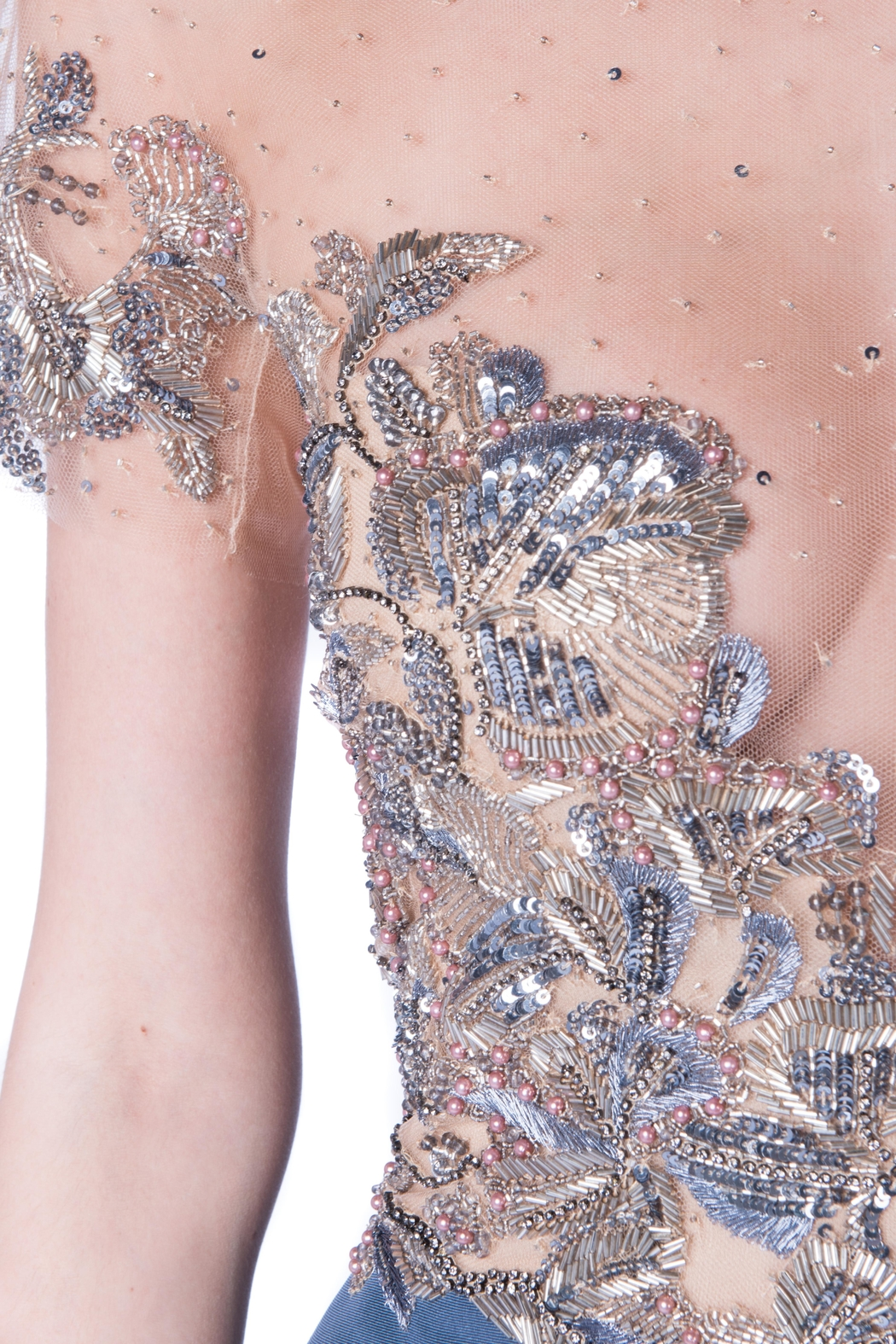 Marchesa Grey Sequin Ruffle - Side Cropped Image