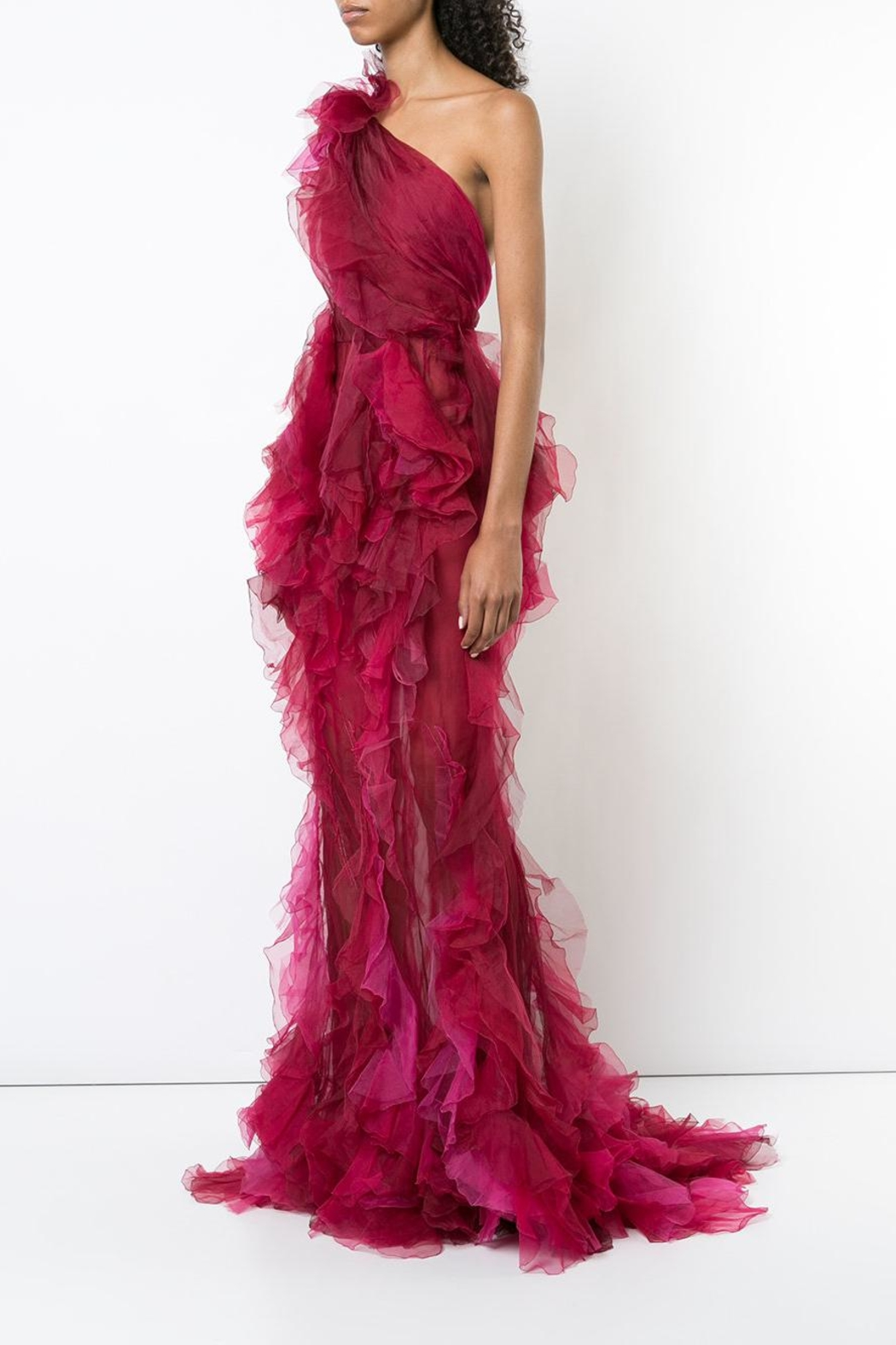 Marchesa Tulle Evening Gown - Side Cropped Image