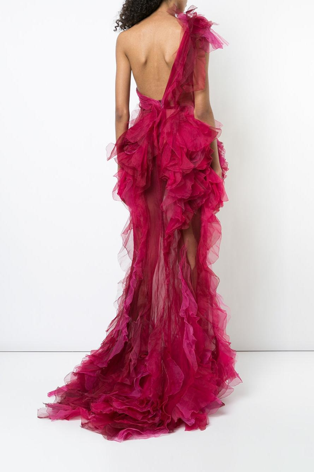 Marchesa Tulle Evening Gown - Back Cropped Image