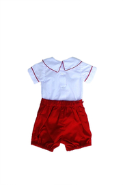Marco&Lizzy Little Threads Red Boy Set - Front full body