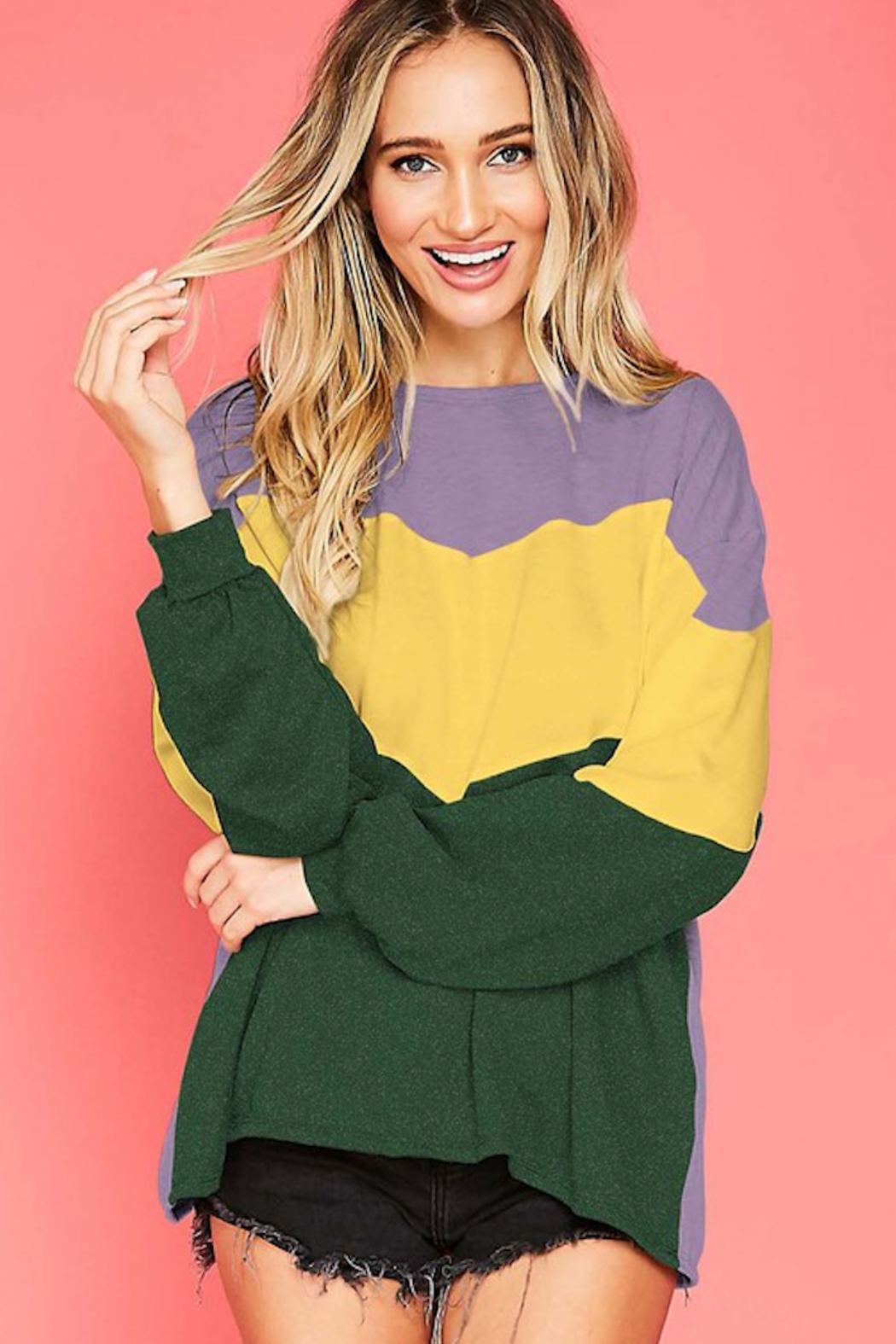 Fantastic Fawn Mardi Gras L/S colorblock - Front Cropped Image