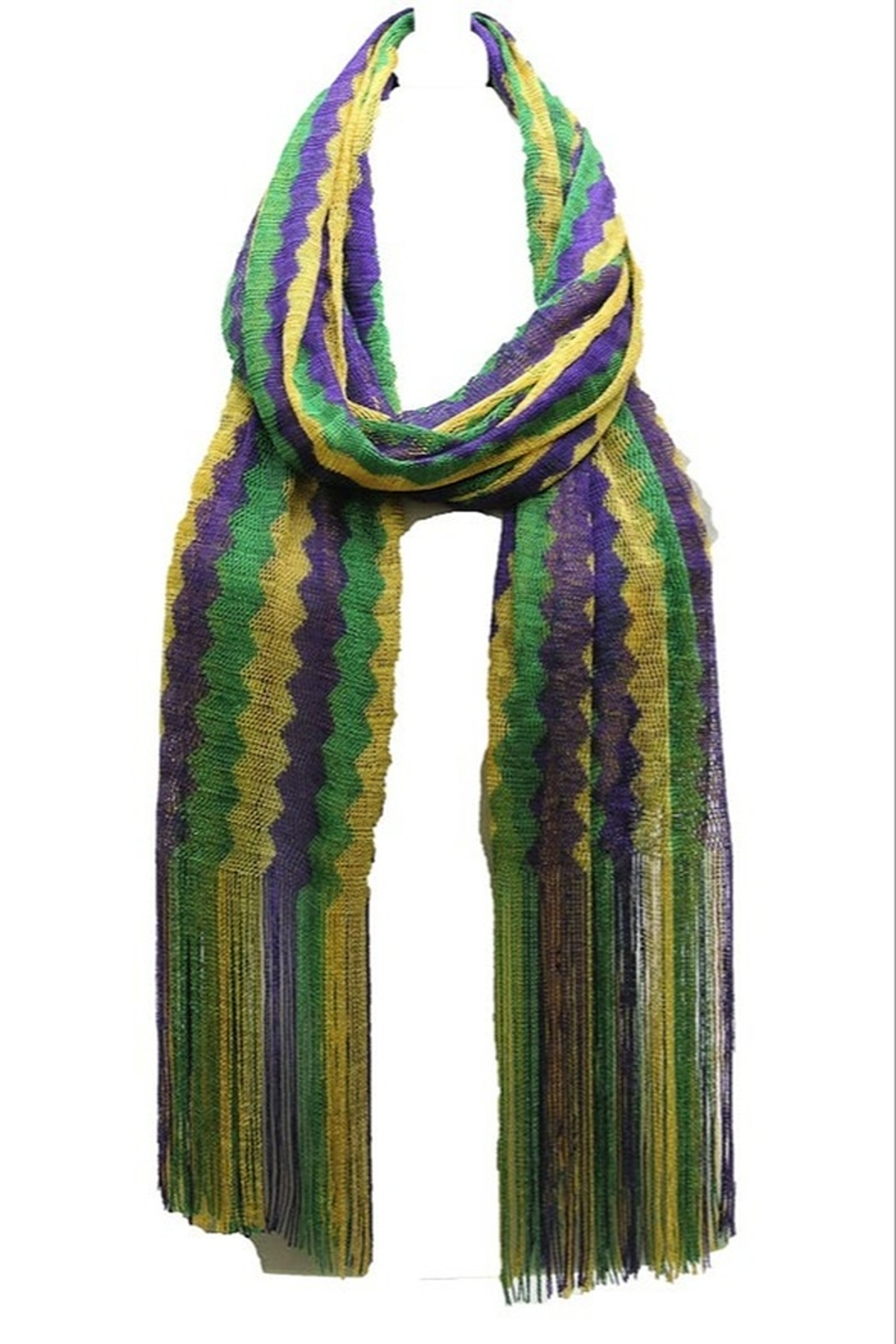 Crystal Avenue Mardi Gras Scarf - Front Cropped Image
