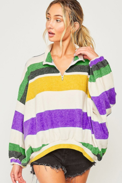 Peach Love California Mardi Gras Striped Half-Zip - Alternate List Image