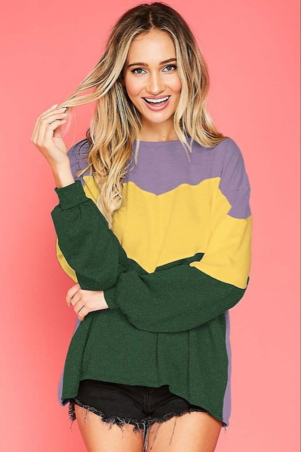 Fantastic Fawn  Mardi Gras Sweatshirt - Front Cropped Image